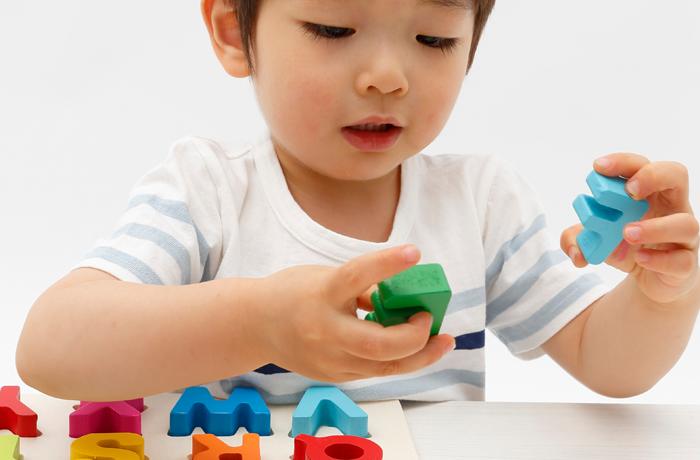 知恵の積木で遊ぶ幼児